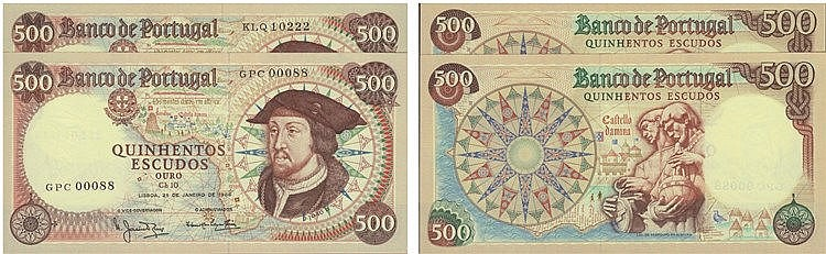 Paper Money - Portugal - 2 expl. 500$00 ch. 10 1966-1979