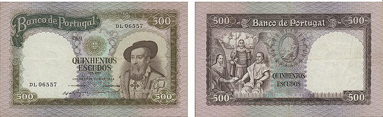 Paper Money - Portugal - 500$00 ch. 9 1958