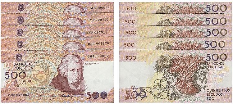 Paper money - Portugal - 5 expl. 500$00 ch. 12 1989