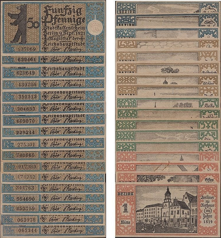 Paper money - Germany 17 expl.  50 Pfennig 1921
