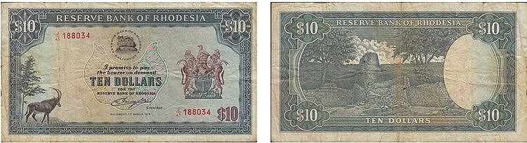 Paper Money - Rhodesia 10 Dollars 1976
