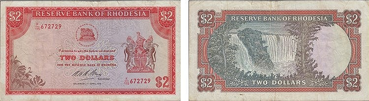 Paper Money - Rhodesia 2 Dollars 1975