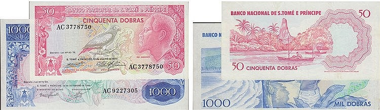 Paper Money - 2 expl. Saint Thomas and Prince 50, 1000 Dobras 1977-1982