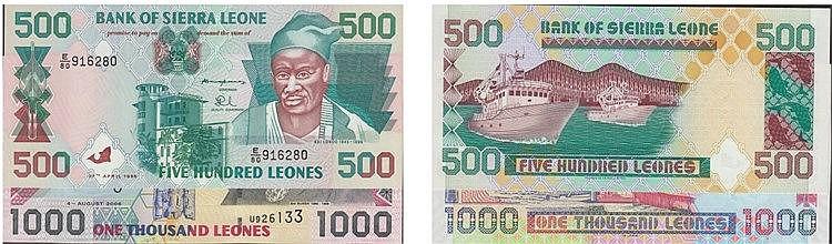Paper Money - Sierra Leone 2 expl. 500, 1000 Leones 1995-2008