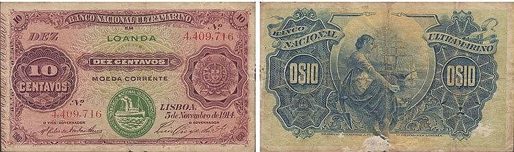 Paper Money - Angola 10 Centavos 1914