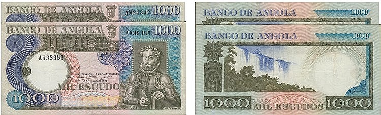 Paper Money - Angola 2 expl. 1000$00 1973, Radial Number
