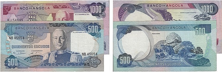 Paper Money - Angola 2 expl. 500$00, 1000$00 1972, Radial Number