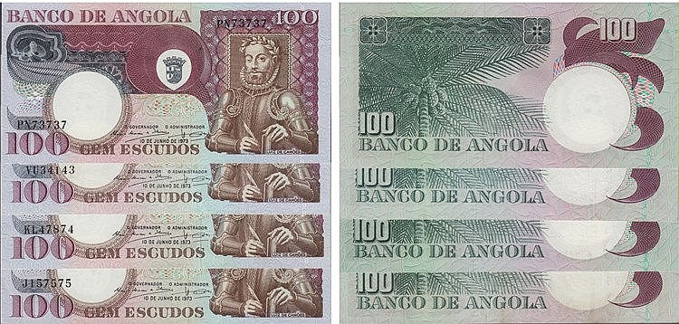 Paper Money - Angola 4 expl. 100$00 1973, Radial Number