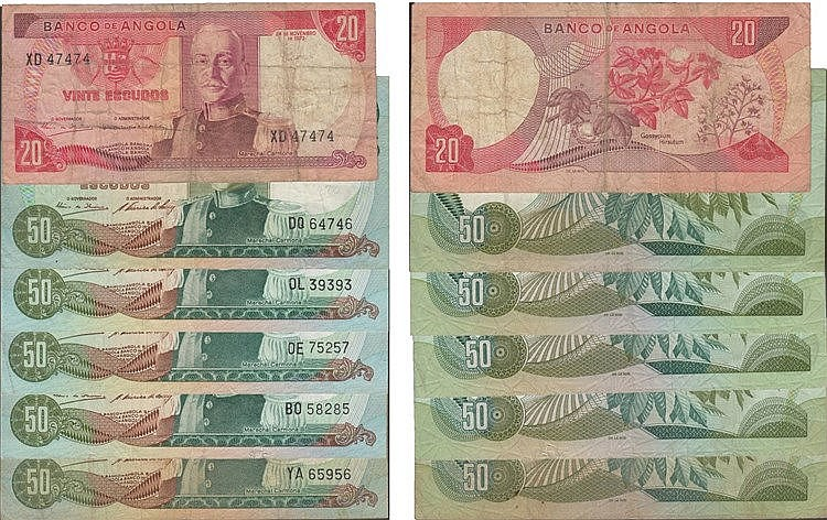 Paper Money - Angola 6 expl. 20$00, 50$00 1972, Radial Number