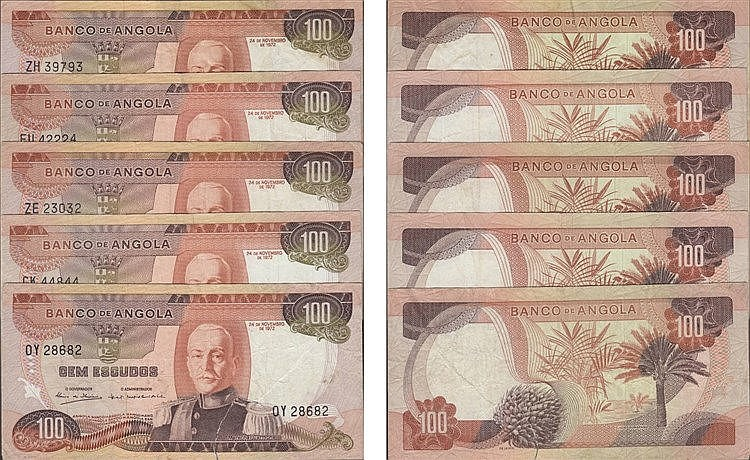 Paper Money - Angola 5 expl. 100$00 1972, Radial Number