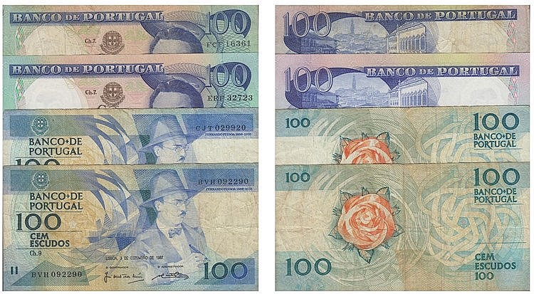 Paper Money - Portugal - 4 expl. 100$00 ch. 7 (1965), ch. 9 (1987,1988), Radial Number