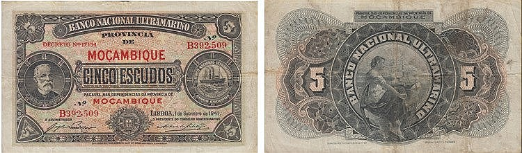 Paper Money - Mozambique 5$00 1941