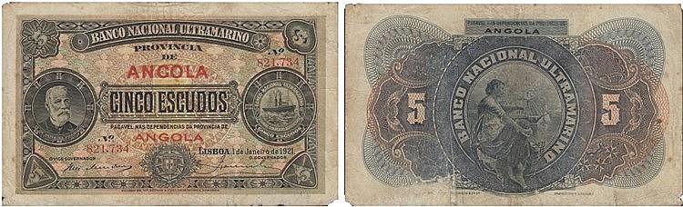 Paper Money - Angola 5$00 1921