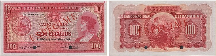 Paper Money - Cape Verde 100$00 1945, ESPÉCIME