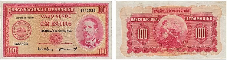 Paper Money - Cape Verde 100$00 1958