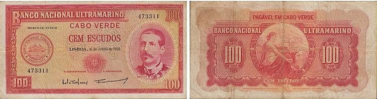 Paper Money - Cabo Verde 100$00 1958