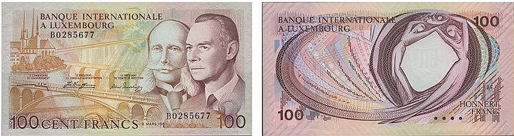 Paper Money - Luxembourg 100 Francs 1981