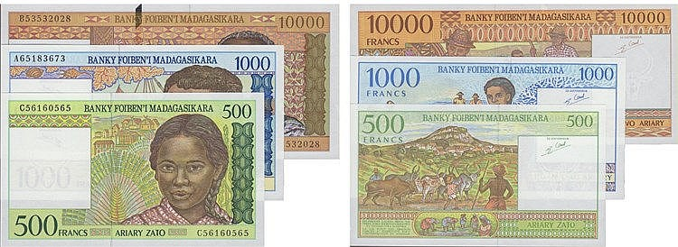 Paper Money - Madagascar 3 expl. 500, 1000, 10 000 Francs ND (1994-1995)