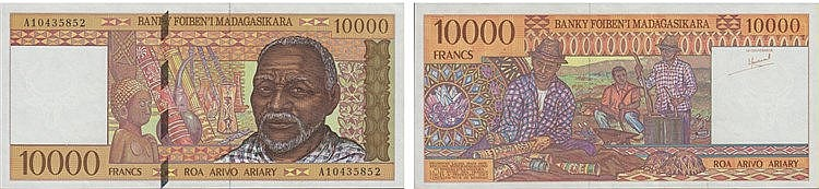 Paper Money - Madagascar 10 000 Francs ND (1995)