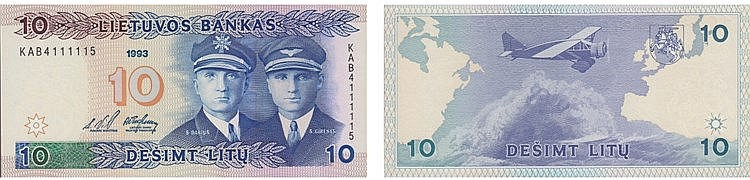 Paper Money - Lithuania 10 Litu 1993