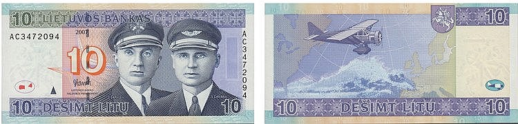 Paper Money - Lithuania 10 Litu 2007