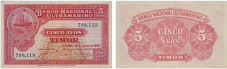 Paper Money - Timor 5 Avos 1940