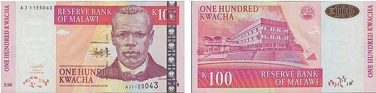 Paper Money - Malawi 100 Kwacha 1989