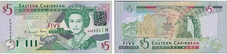 Paper Money - East Caribbean 5 Dollars ND (2003)