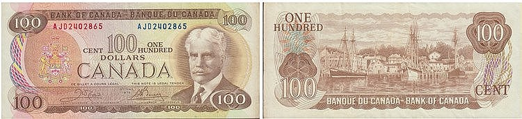 Paper Money - Canadá 100 Dollars 1975