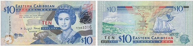 Paper Money - East Caribbean 10 Dollars ND (2008)
