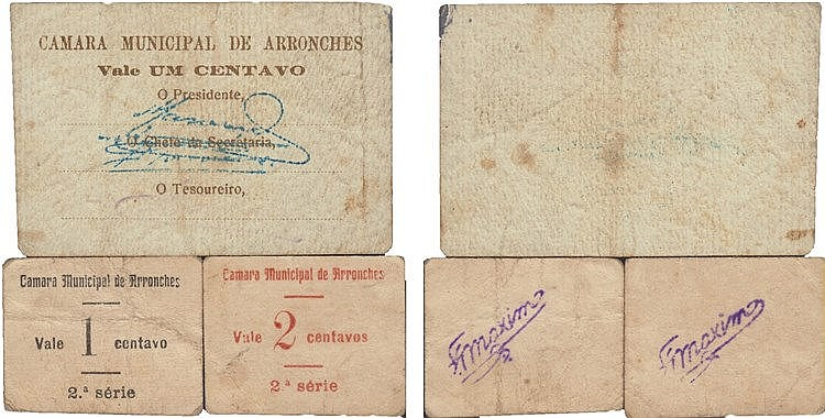 Cédula - Arronches 3 expl. 1, 2 Centavos N/D