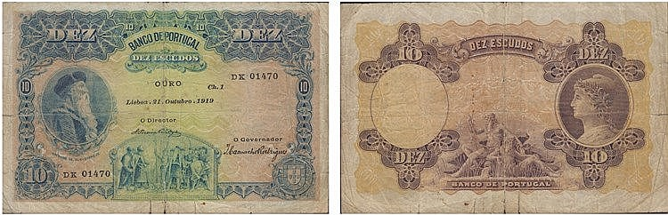 Paper Money - Portugal - 10$00 ch. 1 1919