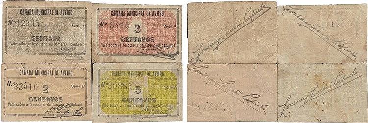 Cédula - Aveiro 4 expl. 1, 2, 3, 5 Centavos N/D