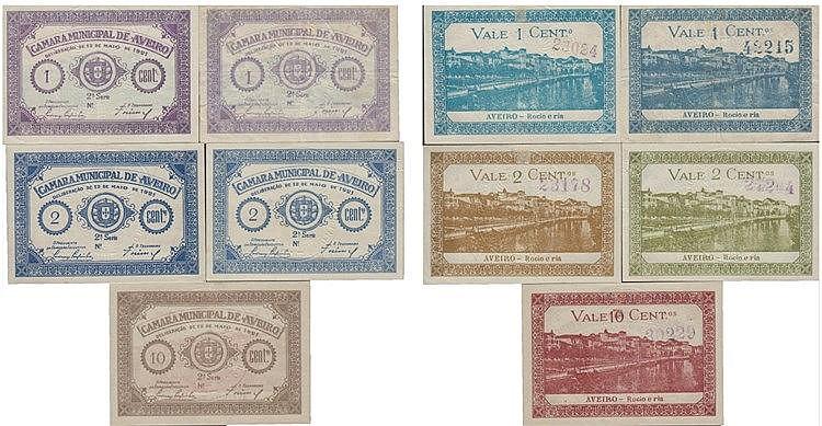 Cédula - Aveiro 5 expl. 1, 2, 10 Centavos 1921