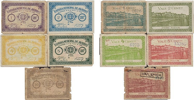 Cédula - Aveiro 5 expl. 1, 2, 4, 5, 10 Centavos 1921