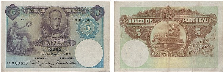Paper Money - Portugal 5$00 ch.1 1923