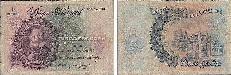 Paper Money - Portugal - 5$00 ch. 2 1921