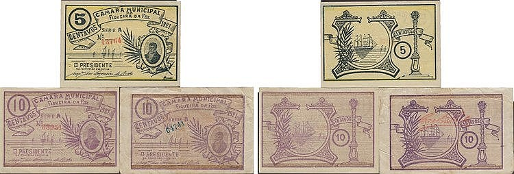 Cédula - Figueira da Foz 3 expl. 5, 10 Centavos 1921