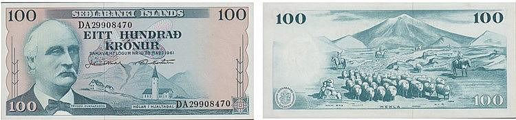 Paper Money - Iceland 100 Krónur 1961