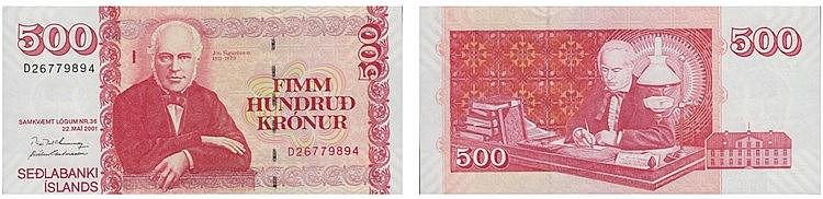 Paper Money - Iceland 500 Krónur 2001