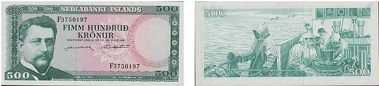 Paper Money - Iceland 500 Krónur 1961