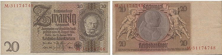 Paper Money - Germany 20 Reichsmark 1929