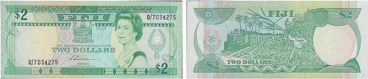Paper Money - Fiji 2 Dollars ND (1988)