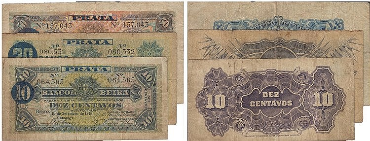 Paper Money - Mozambique 3 expl. 10, 20, 50 Centavos 1919