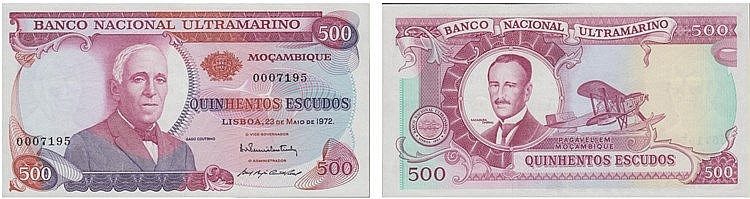 Paper Money - Mozambique 500$00 1972