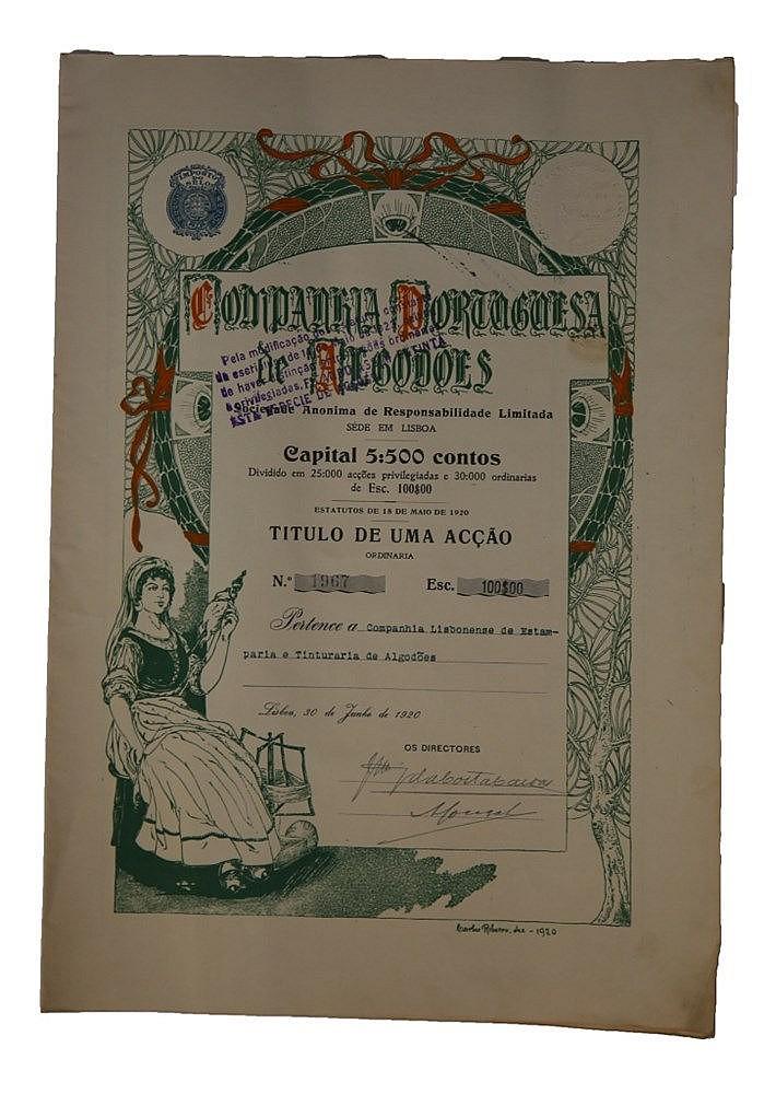 Título de Acção - 100$00 1920
