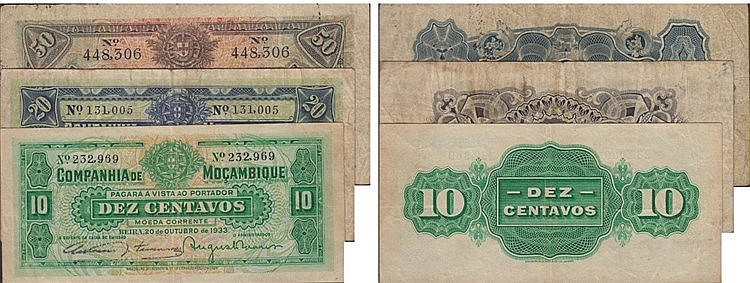 Paper Money - Mozambique 3 expl. 10, 20, 50 Centavos 1931-1933
