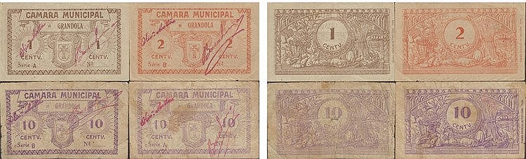 Cédula - Grandola 4 expl. 1, 2, 10 Centavos N/D