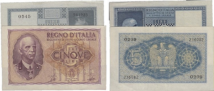 Paper Money - 2 expl. Italy 5, 10 Lire 1939-1940