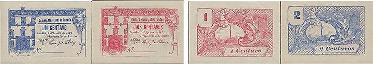 Cédula - Fundão 2 expl. 1, 2 Centavos 1922